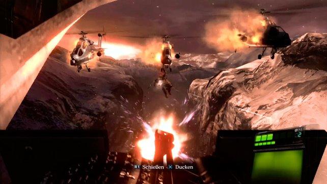Action satt: Mit Maschinengewehr ballert ihr auf Mutanten und Helikopter.