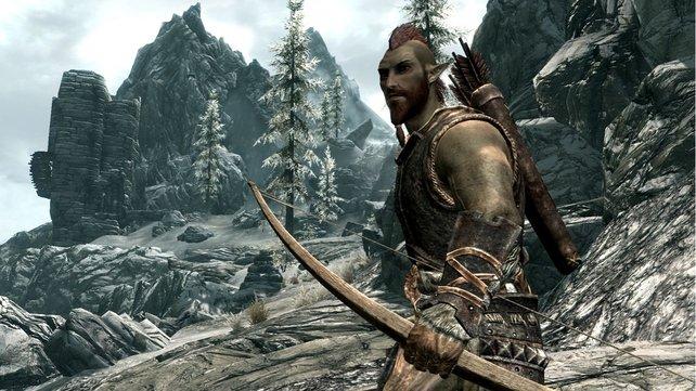 Ein Waldelfen-Bogenschütze aus Skyrim. Er profitiert von seiner Reichweite und Schleich-Fähigkeiten.