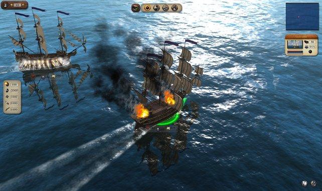 Die See-Schlachten in Port Royale 3 können sich sehen lassen.