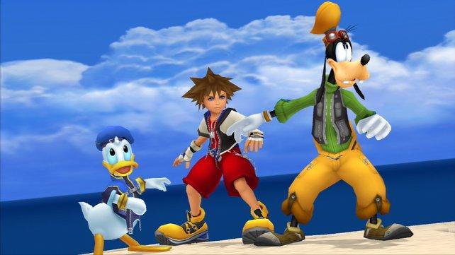 Donald, Goofy und Sora - die Helden aus Kingdom Hearts Final Mix.