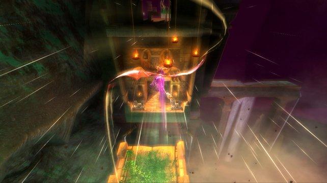 Im schönsten Flug macht Spyro häufig die Erfahrung, dass Grenzen nicht unbedingt sichtbar sind.