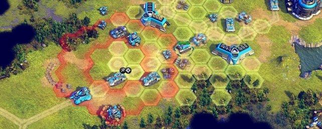 Das Schlachtfeld in Battle Worlds ist in Hexagonal-Felder unterteilt.