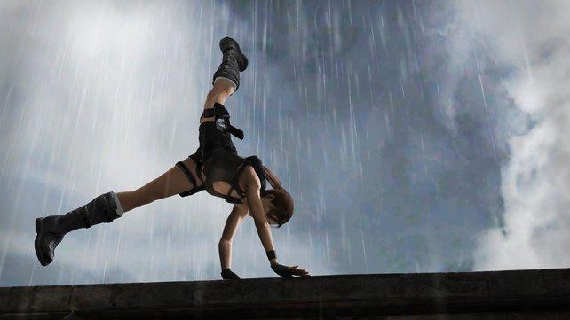 Die athletische Lara im Regen.