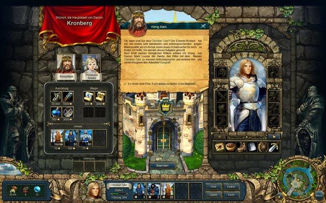 In Burgen heuert ihr neue Einheiten an und kauft bessere Gegenstände.