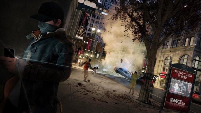Der Protagonist Aiden Pearce kann dank seines Samrtphones die Beleuchtung, Ampeln oder auch Überwachungskameras zu seinen Gunsten manipulieren.