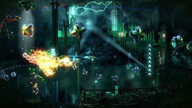 Resogun erinnert an klassische Spielhallenballereien wie Defender oder Asteroids.