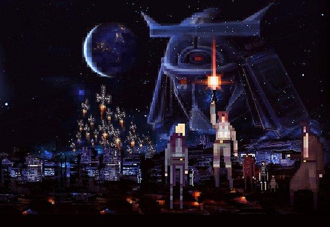 Das Bild erinnert nicht von ungefähr an das alte Kinoplakat von Star Wars.