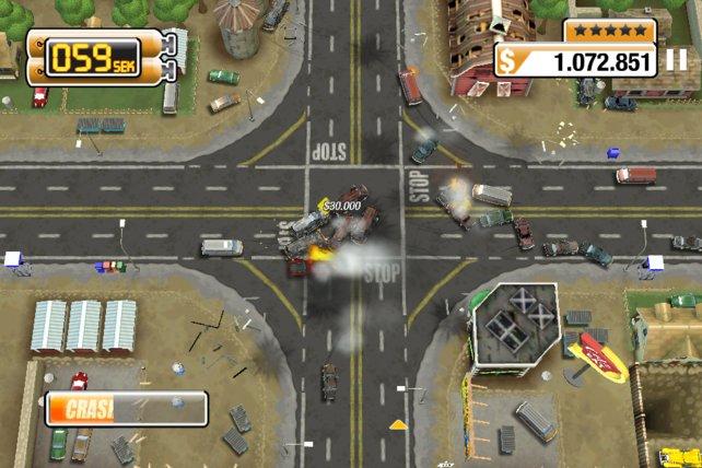 Mit eurem Wagen verursacht ihr Massenunfälle und Explosionen.