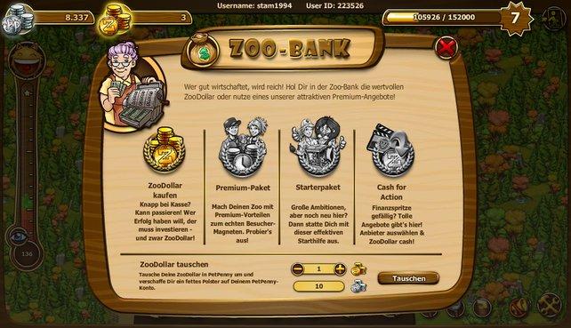 In der Zoo-Bank könnt ihr zum Beispiel ZooDollar zu PetPenny tauschen.