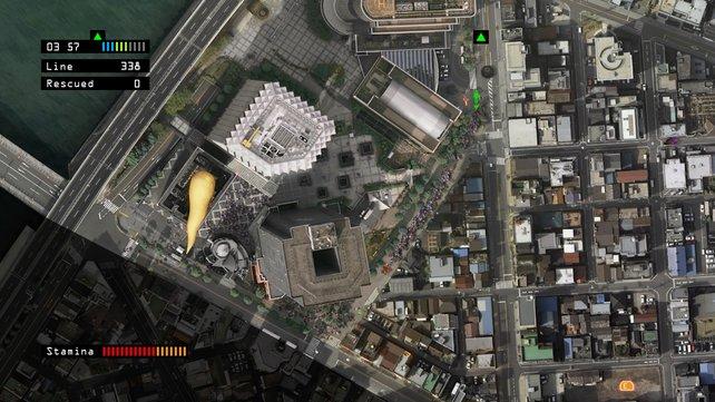 Ein überdimensionierter Wurm bedroht die Menschen bei den Wolkenkratzern.