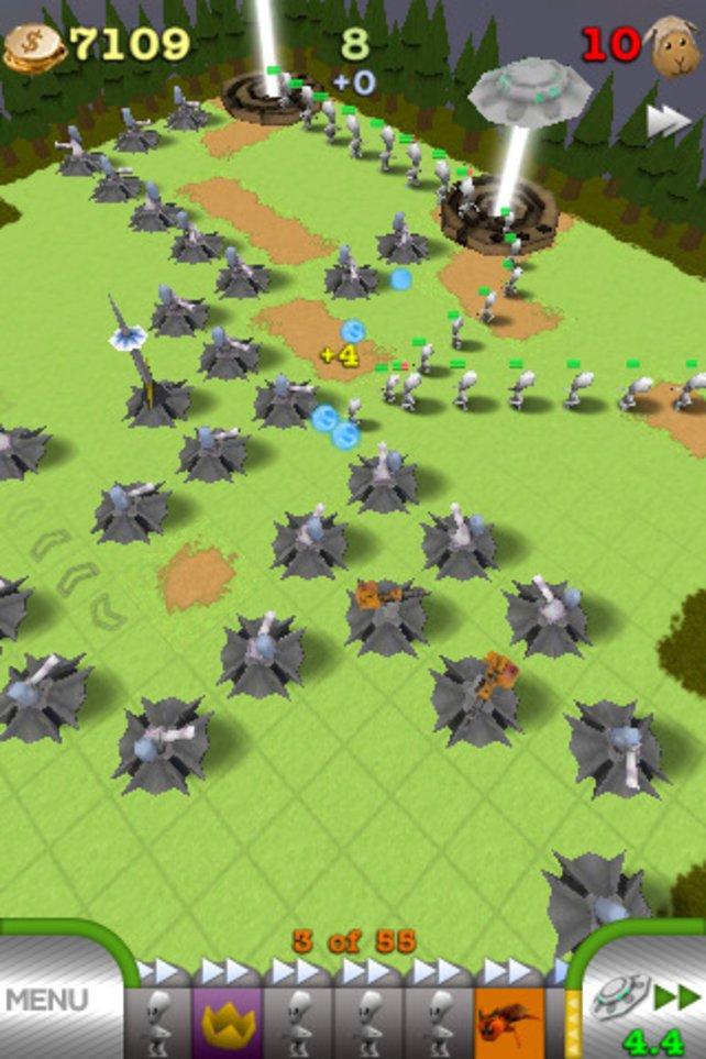 Auf offenem Feld empfielt es sich, einen tödlichen Irrgarten aus Türmen zu bauen.