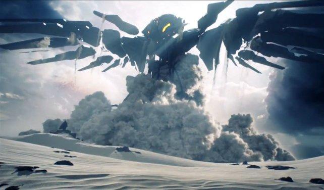 Im ersten Video zu Halo 5 erhebt sich ein riesiger Roboter aus der Wüste.