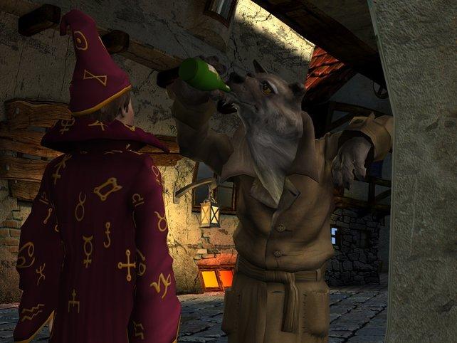 Ein Wolf mit Alkoholproblemen