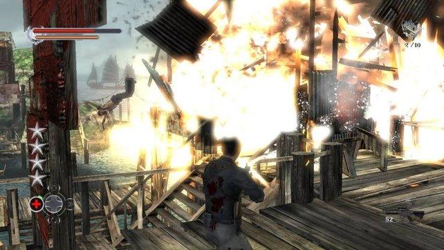 Die Explosionen füllen den gesamten Bildschirm aus.
