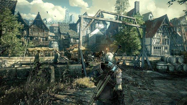 Ein Teil der offenen Spielwelt von The Witcher 3 ist dieses gemütliche Städtchen.