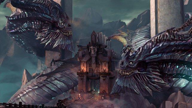 Türsteher und Zugpferde in einem: Die Drachen der schwebenden Arena.