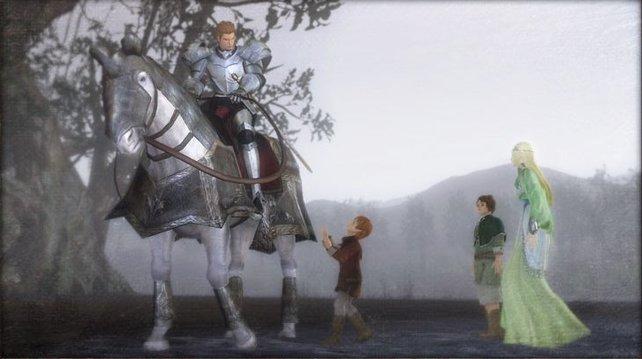 Familienbild: Vater, Held Areus, Adoptivbruder und Mutter.