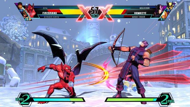 Hawkeye kämpft gegen Firebrand.