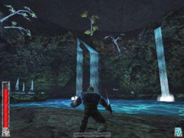 Ragnar vor einem Wasserfall