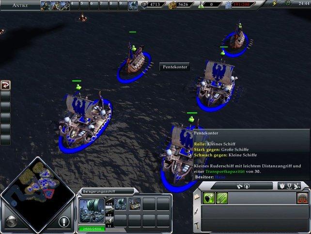 Seekämpfe sind zwar selten, aber zum Übersetzen sind Schiffe