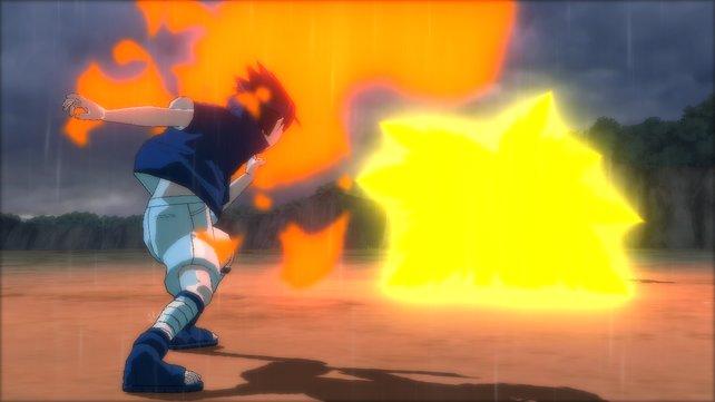 Sasuke setzt bevorzugt das Jutsu der flammenden Feuerkugel ein.
