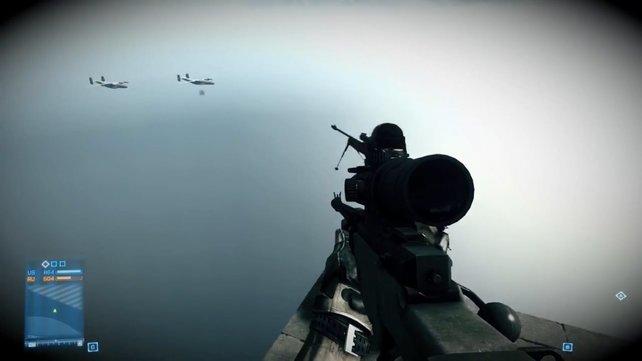 Hinter der Level-Grenze entdeckt ihr Flugzeuge, die eigentlich nicht für eure Augen bestimmt sind.