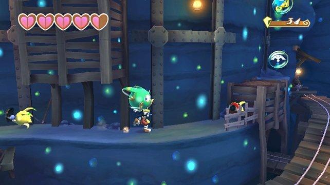 Spielend leicht nimmt Klonoa die Gegner hoch und kann mit ihnen andere Feinde angreifen.