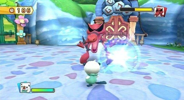 Auch größere Gegner könnt ihr mit dem richtigen Pokémon leicht zur Strecke bringen.