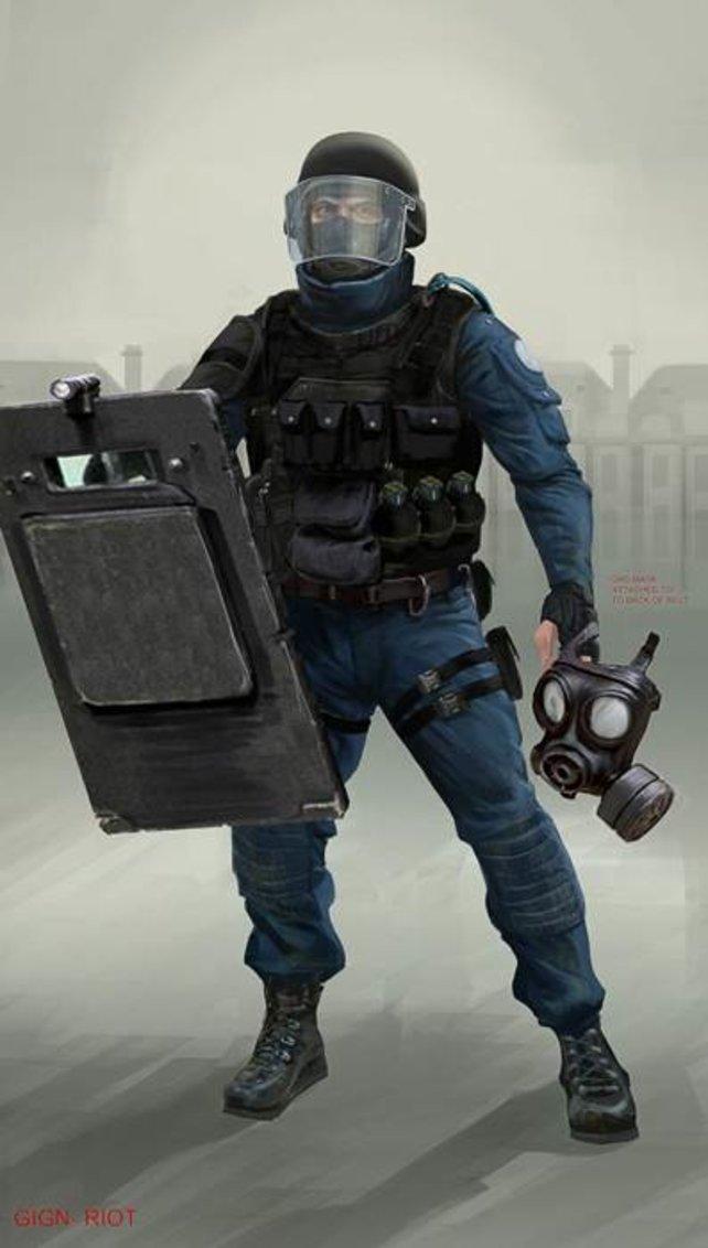 Aufruhr in Europa. Diese Illustration zeigt einen Londoner Polizisten in Kampfmontur.