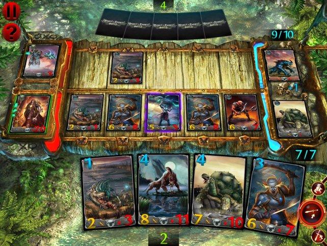 Auf fünf Feldern legt ihr eure Karten aus und bekämpft den Gegner.