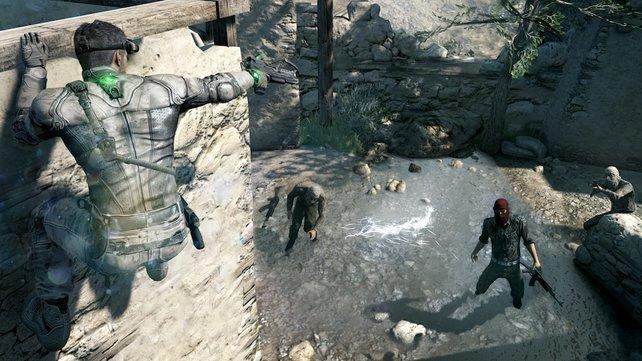 Sam erledigt die Gegner am Boden mit Schockerpfeilen.