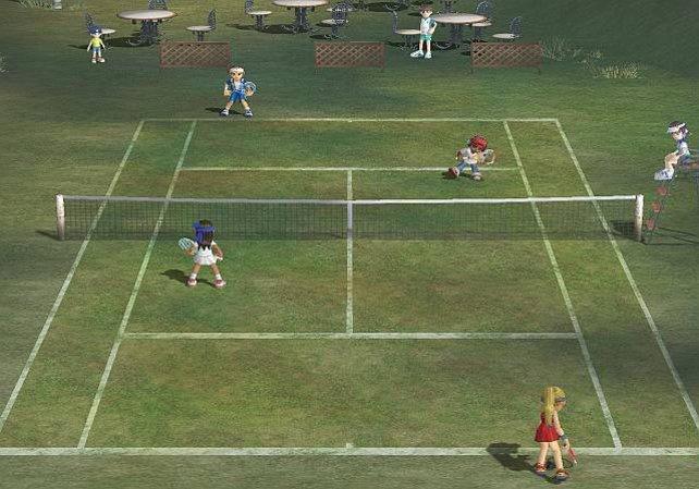 Ein Doppelmatch auf grasigem Untergrund.Im Hintergrund sind Zuschauer.