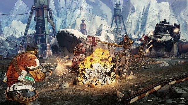 Der Grafikstil erinnert im zweiten Borderlands-Spiel an einen Comic.