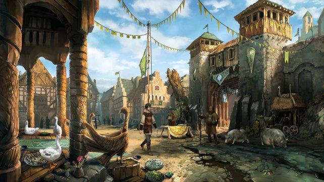 Vor malerischen Hintergründen erkundet ihr die Stadt Andergast.