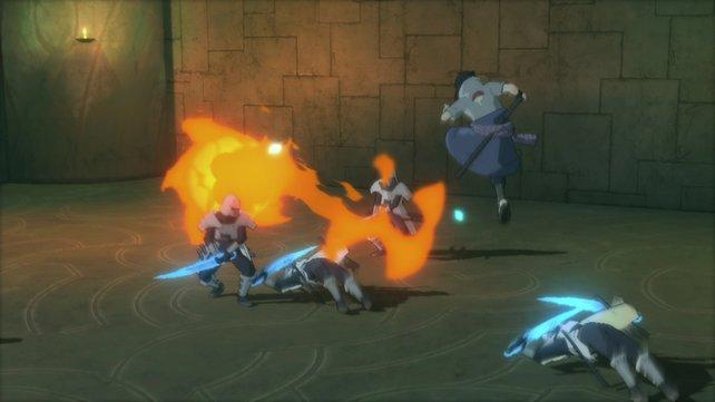 Sasuke kokelt ein paar Samurai mit seinem Feuerversteck an.