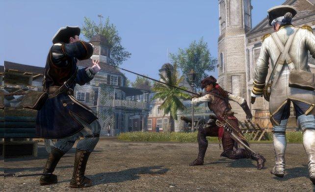 Auch mit der Peitsche kann die schöne Assassinin umgehen.