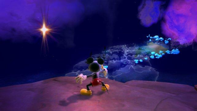 Mit dem Pinsel verändert Micky die Levels an dafür vorgesehenen Stellen.
