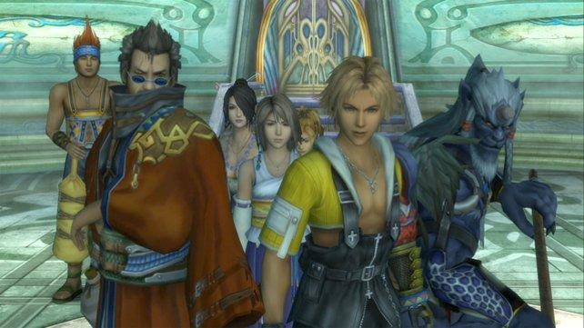 Die Helden von Final Fantasy X. Von links nach rechts: Wakka, Auron, Lulu, Yuna, Rikku, Tidus und Kimahri.
