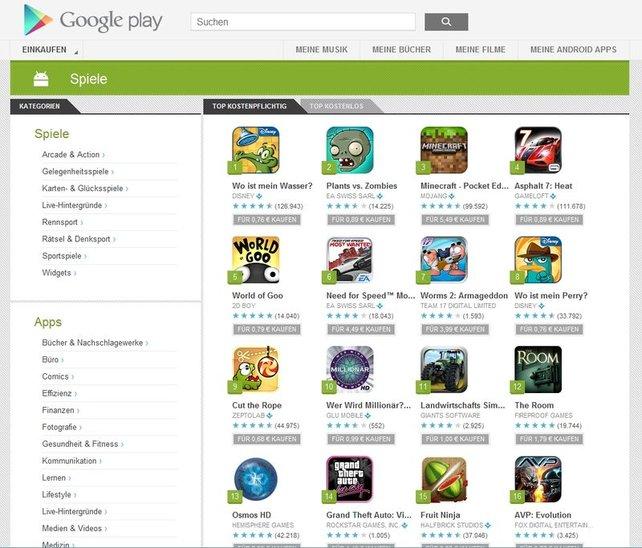In Googles Play Store finden sich tausende Spiele - viele davon kostenlos.