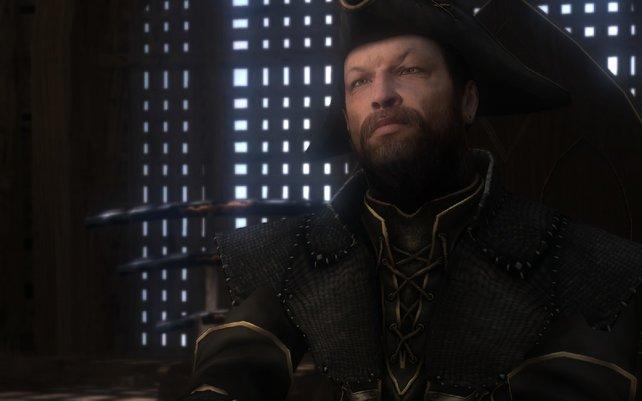 In seiner Kajüte nimmt euch Kapitän Teal ins Gebet.