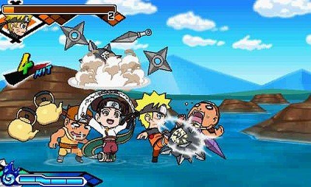 Naruto und Tenten verprügeln böse Shinobi.
