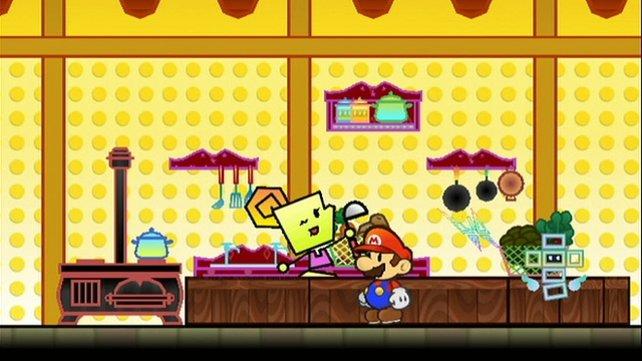 Mario wird von kleinen Helfern begleitet, die Pixl heißen