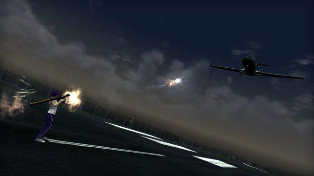 Ihr könnt nicht nur Flugzeuge selbst fliegen, sondern auch welche abschießen. So wie hier!