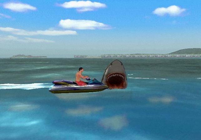 Hier stillt Jaws in wenigen Sekunden seinen Hunger