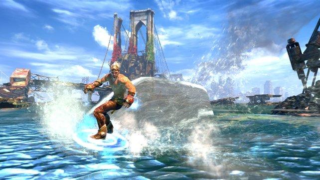 Enslaved ist unkonventionell: Der Held fährt eine Runde Wasser-Ski.
