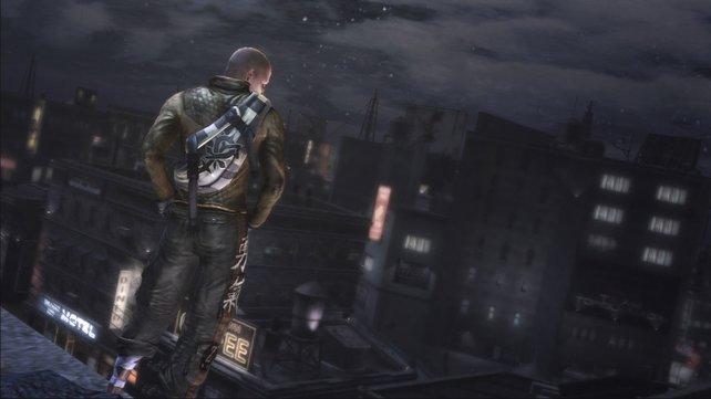 Hauptcharakter Cole am Grübeln: Warum lebe ich, wieso stehe ich auf dem Dach und werd ich Super- oder Antiheld?