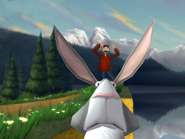 Hier wird gerade mit einem Hasen in der Hand auf einen Jäger gezielt.