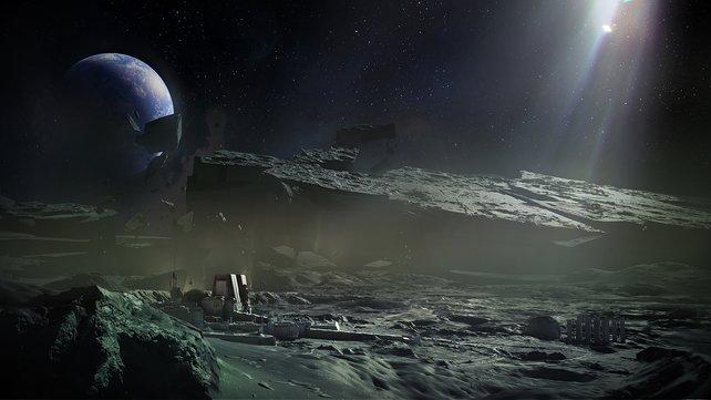 Eine Konzeptzeichnung von Destiny zeigt die Mondoberfläche.