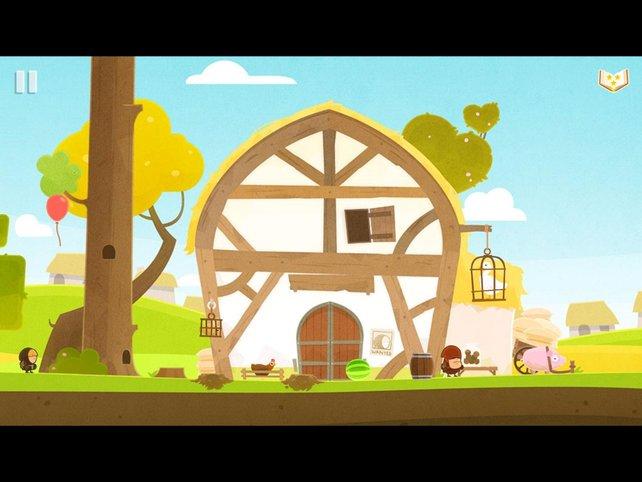Als winziger Dieb überlistet ihr Wachen, um an die Beute zu gelangen (hier ein Schwein).