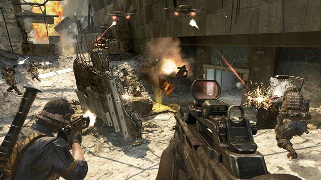 Ballern auch auf Wii U - das Spiel geht manchmal allerdings in die Knie.